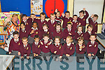 Pictured on their first day of school at Holy Family  national school, Tralee on Friday, Front from left: James O'Donnell Pierse , Jake Keating, Billy Anjam, Ben O'Connor, Klaudia Rutkowski, Olivia Pasierb, Veronica Lukcova and Patrick Purcell..Middle Row from Left: Fatima Chaudhry, Vivian Fabian, Lexi Hennessy, Leah O'Brien, Rebecca Rutland, Bronagh Bermingham, Ethan Ballard, .Back From Left: Teacher Phil Moriarty, Kevin McGoran, Rodrigo Lusis, Colm O'Halloran, Rowhan Healy, Arnas Butkus, Ronin McCannon, Clayton O'Connell, Cormac O'Connell and Timmy Hallissey.