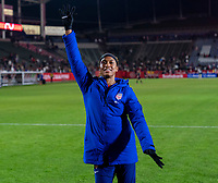 CARSON, CA - FEBRUARY 7: Jess McDonald #14 of the United States dances during a game between Mexico and USWNT at Dignity Health Sports Park on February 7, 2020 in Carson, California.