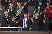 Ji Seong-ho raises his crutches as he is recognized as United States President Donald J. Trump delivers his first State of the Union address to a joint session of the US Congress in the US House chamber in the US Capitol in Washington, DC on Tuesday, January 30, 2018.<br /> Credit: Ron Sachs / CNP<br /> (RESTRICTION: NO New York or New Jersey Newspapers or newspapers within a 75 mile radius of New York City)
