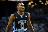 BROOKLYN, NY - Saturday December 19, 2015: Nate Britt (#0) of North Carolina and his Tar Heels take on the UCLA Bruins in the CBS Classic at Barclays Center in Brooklyn, NY.