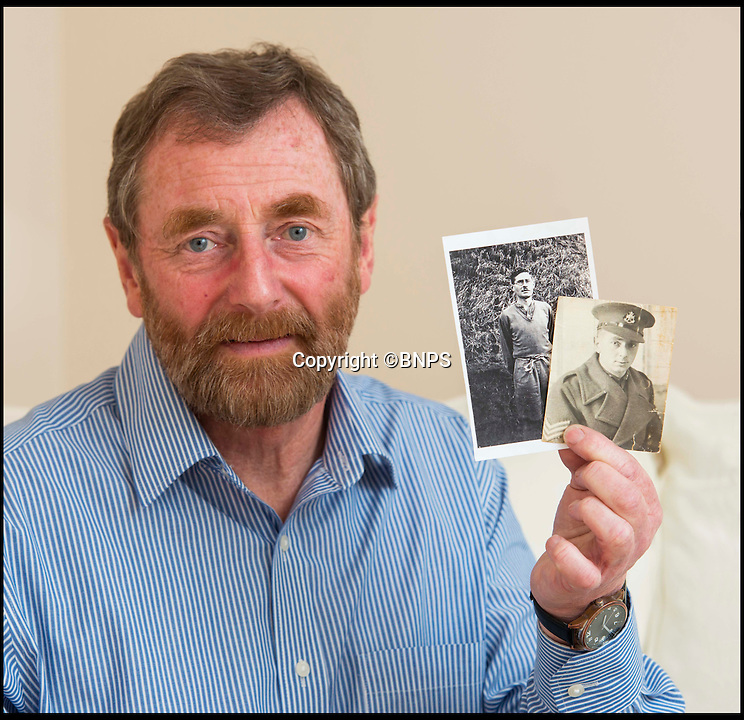 BNPS.co.uk (01202 558833)<br /> Pic: TomWren/BNPS<br /> <br /> Steve Foster with a picture of his father Frederick(left) and Anthony Coulthard.<br /> <br /> The poignant story of how a British Prisoner of War paid with his life for turning back for a comrade during an audacious escape has been uncovered in an old suitcase.<br /> <br /> Frederick Foster and Antony Coulthard had travelled 1,000 miles across Poland and Germany before one of them was caught by a German guard on the Swiss border.<br /> <br /> Coulthard, who was free, went back for him and was also caught. He went on to die on a 'death march' towards the end of the war. <br /> <br /> Now Sgt Foster's son Steve is turning the epic escape into a book.