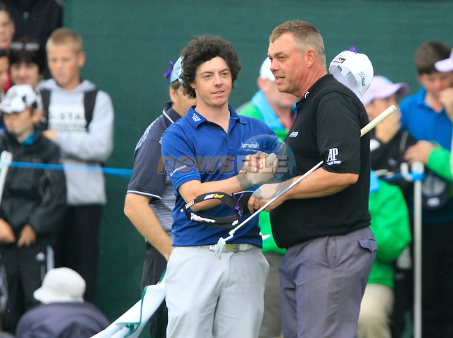 Rory McIlroy and Darren Clarke after finishing their round on the 18th green during Day 2 of the 3 Irish Open at the Killarney Golf & Fishing Club, 30th July 2010..(Picture Eoin Clarke/www.golffile.ie)