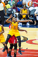 Washington, DC - July 22, 2016: Los Angeles Sparks guard Alana Beard (0) with a big block against the Washington Mystics during their match up at the Verizon Center in Washington, DC. (Photo by Phil Peters/Media Images International)