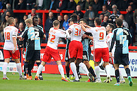 Tempers flare during the Sky Bet League 2 match between Stevenage and Wycombe Wanderers at the Lamex Stadium, Stevenage, England on 17 October 2015. Photo by PRiME Media Images.