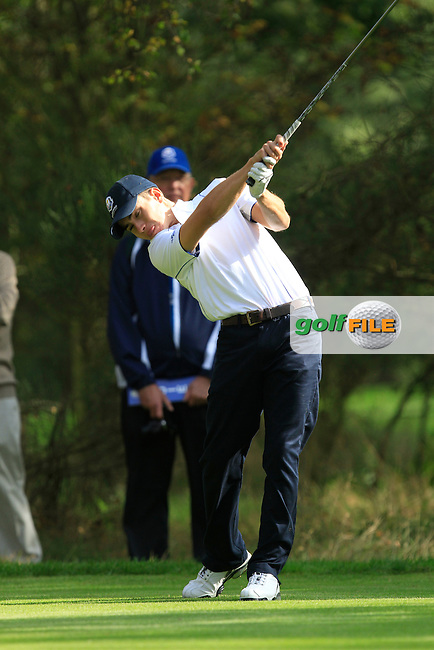 Ivan Cantero Gutierrez (ESP) on the 5th tee of the Mixed Fourballs, puts to go two up during the 2014 JUNIOR RYDER CUP at the Blairgowrie Golf Club, Perthshire, Scotland. <br /> Picture:  Thos Caffrey / www.golffile.ie