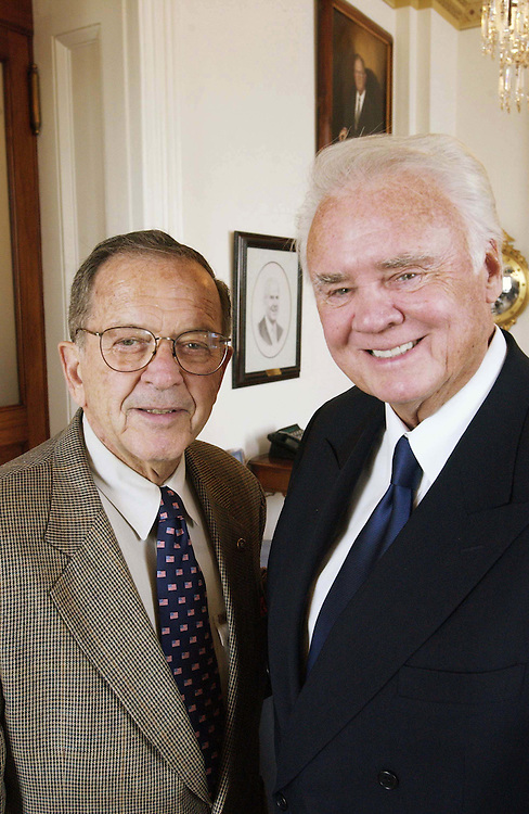 5/13/04.APPROPRIATIONS CHAIRMEN--Senate Appropriations Chairman Ted Stevens, R-Alaska, and House Appropriations Chairman C.W. Bill Young, R-Fla., together for an exclusive CQ photograph in Young's office. Both will be retiring from Congress at the end of their terms..CONGRESSIONAL QUARTERLY PHOTO BY SCOTT J. FERRELL