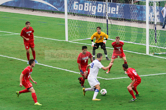 Kentucky freshman Stefan Stojkovic tries to take on five defenders and a goalie during the University of Kentucky vs. Belmont men's soccer game at the Wendell and Vickie Bell Soccer Complex in Lexington, Ky., on Sunday, August 31, 2014. Photo by Jonathan Krueger | Staff