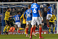 Ellis Harrison of Portsmouth right goes close with a header during Portsmouth vs Arsenal, Emirates FA Cup Football at Fratton Park on 2nd March 2020