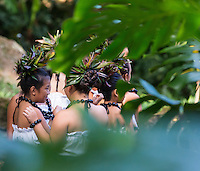 Young hula dancers at a recital in Waimea Valley, O'ahu