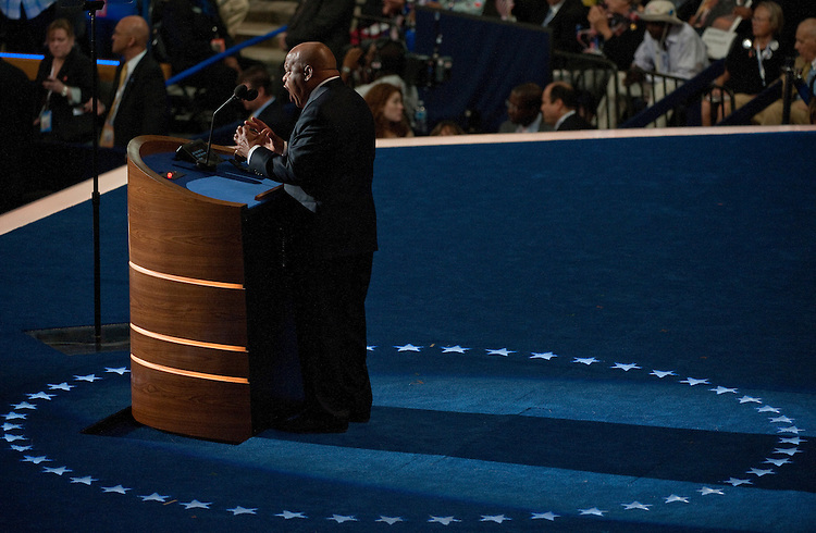 UNITED STATES - September 6 : Rep. John Lewis, D-GA., during the evening program on day three of the Democratic National Convention at Time Warner Cable Arena on September 6, 2012 in Charlotte, North Carolina. The DNC that will run through September 7. The Convention nominated U.S. President Barack Obama as the Democratic presidential candidate last night. (Photo By Douglas Graham/CQ Roll Call)