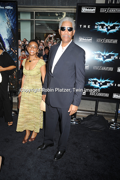 """Morgan Freeman and granddaughter..posing at The World Premiere of """"The Dark Knight""""  on July 14, 2008 at The AMC Loews Lincoln Square in New York City.  The premiere was sponsered by VISA and Belstaff.....Robin Platzer, Twin Images"""