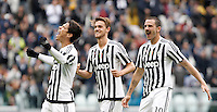 Calcio, Serie A: Juventus vs Carpi. Torino, Juventus Stadium, 1 maggio 2016.<br /> Juventus' Hernanes, left, celebrates with teammates Daniele Rugani, center, and Leonardo Bonucci, after scoring during the Italian Serie A football match between Juventus and Carpi at Turin's Juventus Stadium, 1 May 2016.<br /> UPDATE IMAGES PRESS/Isabella Bonotto