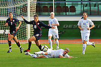 Carli Lloyd chases down the ball. The USWNT defeated Iceland (2-0) at Vila Real Sto. Antonio in their opener of the 2010 Algarve Cup on February 24, 2010.