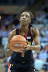 05 January 2014: Maryland's Laurin Mincy. The University of North Carolina Tar Heels played the University of Maryland Terrapins in an NCAA Division I women's basketball game at Carmichael Arena in Chapel Hill, North Carolina. Maryland won the game 79-70.