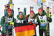16th March 2019, Ostersund, Sweden; IBU World Championships Biathlon, day 8, mens relay; Erik Lesser, Roman Rees, Benedikt Doll and Arnd Peiffer of Germany celebrate with national flag