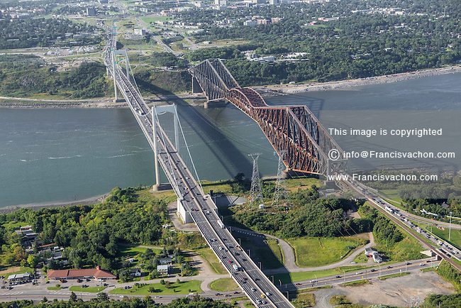 The Pont Pierre Laporte bridge and the Pont de Quebec bridge are pictured in this aerial photo in Quebec city Thursday September 3, 2015.