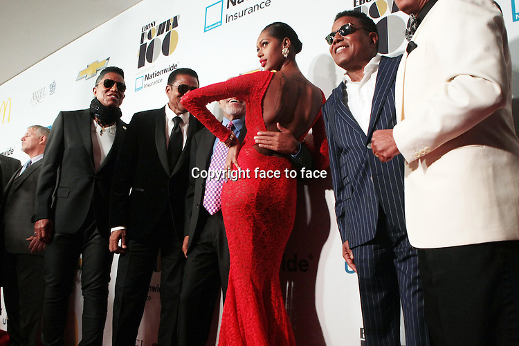Recording Artists Marlon Jackson, Jermaine Jackson, Music Executive Berry Gordy, Tito Jackson, Jackie Jackson and Model Jessica White attend the 2013 Ebony Power 100 Gala held at Jazz at Lincoln Center on November 4, 2013 in New York City.<br />