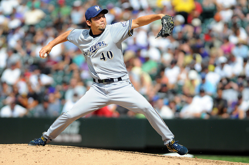 17 JULY 2011: Milwaukee Brewers relief pitcher Takashi Saito (40) during a regular season game between the Milwaukee Brewers and the Colorado Rockies at Coors Field in Denver, Colorado. The Brewers beat the Rockies 4-3 to split the four game series. *****For Editorial Use Only*****