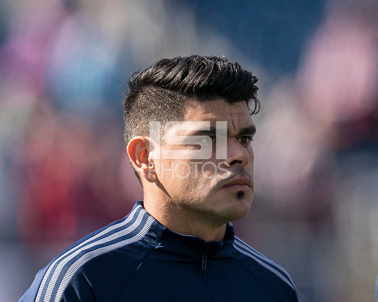 FOXBOROUGH, MA - MARCH 7: Gustavo Bou #7 of New England Revolution during a game between Chicago Fire and New England Revolution at Gillette Stadium on March 7, 2020 in Foxborough, Massachusetts.