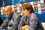 Real Madrid's coach Zinedine Zidane (l) and Luka Modric in press conference before UEFA Champions League match. February 14,2017.(ALTERPHOTOS/Acero)
