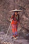 A Hindu woman on the trek to Manaslu basecamp in Nepal.