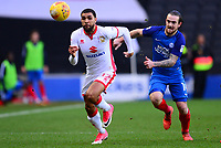 Scott Golbourne of Mk Dons in action with Jack Marriot during the Sky Bet League 1 match between MK Dons and Peterborough at stadium:mk, Milton Keynes, England on 30 December 2017. Photo by Bradley Collyer / PRiME Media Images.