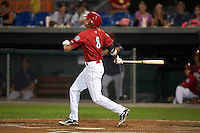 Auburn Doubledays shortstop Ian Sagdal (8) at bat during a game against the Mahoning Valley Scrappers on September 4, 2015 at Falcon Park in Auburn, New York.  Auburn defeated Mahoning Valley 5-1.  (Mike Janes/Four Seam Images)