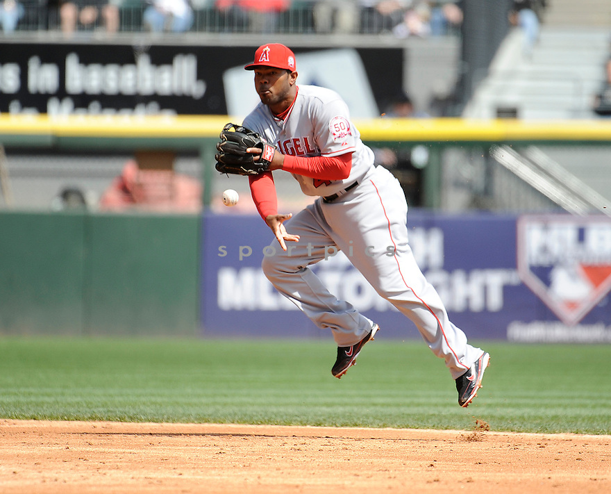HOWARD KENDRICK, of the Los Angeles Angels, in action during the Angels game against the Chicago White Sox, on April 17, 2011 at US Cellular Field in Chicago, Illinois.  The Angels beat the Sox 4-2.