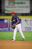 Binghamton Rumble Ponies second baseman Oliver Pascual (3) during a game against the Portland Sea Dogs on August 31, 2018 at NYSEG Stadium in Binghamton, New York.  Portland defeated Binghamton 4-1.  (Mike Janes/Four Seam Images)