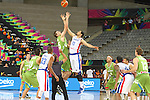 06.09.2014. Barcelona, Spain. 2014 FIBA Basketball World Cup, round of 16. Picture show E. Vargas and A. Omic  in action during game between Dominican Republic  v Slovenia  at Palau St. Jordi