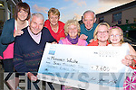 Bart Moriarty, Laune Rangers GAA pictured as he presented a cheque for EUR7,600 to Margaret Walshe, right, on Sunday after she won the club jackpot. Also pictured are Margaret Browne, seller, Caoimhe Walshe Pierce, Sinead Pigott, Maria Hayes, Killorglin Credit Union and James Murphy, Killorglin Credit Union..........