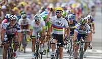 GREIPEL Andre - CAVENDISH Mark - GOSS Matthew .Sprint.2/7/2012.Ciclismo Tour de France 2a Tappa.Tour de France - Vise / Tournai.Foto Insideofoto / Kalut - De Voecht / Photo News / Panoramic.ITALY ONLY