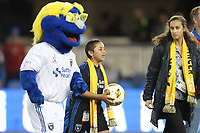 San Jose, CA - Wednesday September 19, 2018: Q, mascot, Kick Childhood Cancer during a Major League Soccer (MLS) match between the San Jose Earthquakes and Atlanta United FC at Avaya Stadium.