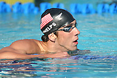 August 2, 2005; Irvine, CA, USA; .Michael Phelps turns back to look at his time after finishing the 200IM at the Mutual of Omaha Duel in the Pool swim meet between Team USA and Australia Telstra Dolphins at the Woollett Aquatic Center in Irvine, California.  Phelps finished first with a time of 1:56.93..Mandatory Credit: Photo by Darrell Miho.© Copyright Darrell Miho