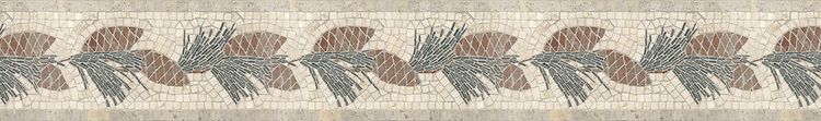 """6"""" Pinecone border, a hand-cut stone mosaic, shown in honed Gascogne Blue, Jura Green, polished Botticino, and Aegean Brown."""