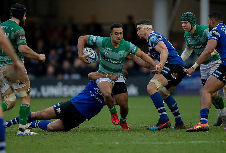 Newcastle's Zach Kibirige in action during todays match<br /> <br /> Photographer Bob Bradford/CameraSport<br /> <br /> Gallagher Premiership - Bath Rugby v Newcastle Falcons - Saturday 16th February 2019 - The Recreation Ground - Bath<br /> <br /> World Copyright © 2019 CameraSport. All rights reserved. 43 Linden Ave. Countesthorpe. Leicester. England. LE8 5PG - Tel: +44 (0) 116 277 4147 - admin@camerasport.com - www.camerasport.com