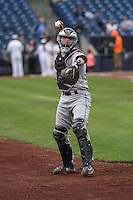 Wisconsin Timber Rattlers catcher Carlos Leal (11) during warmups before a Midwest League game against the Quad Cities River Bandits on May 8th, 2015 at Modern Woodmen Park in Davenport, Iowa.  Quad Cities defeated Wisconsin 11-6.  (Brad Krause/Four Seam Images)