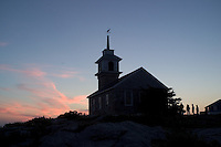 1800 stone Gosport Church is the center of religious activities at the Star Island Conference Center, Isles of Shoals, New Hampshire. Photograph by Peter E. Randall