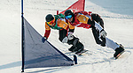 PyeongChang 12/3/2018 - Alex Massie rides against Carl Murphy (NZL) during the snowboard cross competition at the Jeongseon Alpine Centre during the 2018 Winter Paralympic Games in Pyeongchang, Korea. Photo: Dave Holland/Canadian Paralympic Committee
