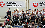"""July 23, 2017, Chiba, Japan - Japanese Paralympians of wheelchair basketball and wheelchair rugby players and members of Japanese pop group """"The Rampage from Exile Tribe"""" pose for photo at a promotional event of Paralympic sports at a shopping mall in Chiba, suburban Tokyo on Sunday, July 23, 2017. People try to play Paralympic sports such as wheelchair basketball and wheelchair rugby with Paralympic athletes at the event sponsored by Japan Airlines (JAL).   (Photo by Yoshio Tsunoda/AFLO) LwX -ytd-"""