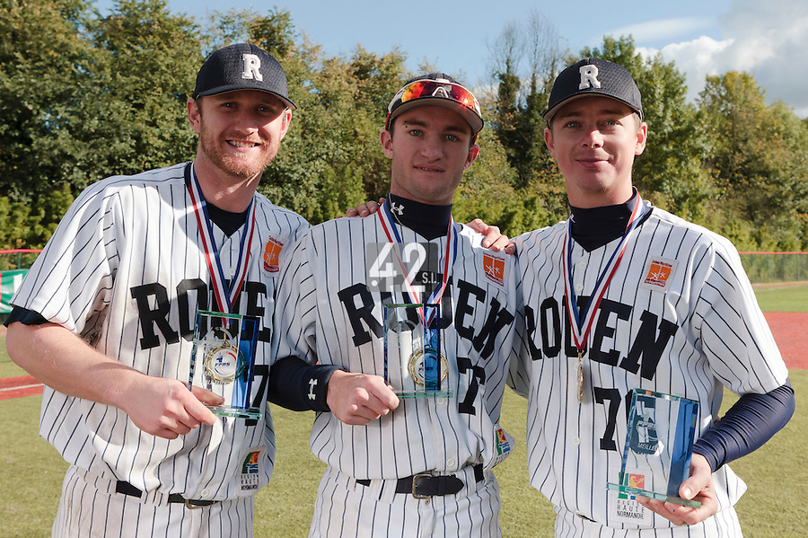 24 October 2010: Aaron Hornostaj (best hitter), MVP Joris Bert, Anthony Piquet (best pitcher) pose as Rouen defeats 5-1 Savigny, during game 4 of the French championship finals, in Rouen, France. Rouen wins his 7th French Championship in 8 years.
