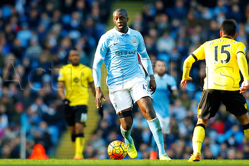 05.03.2016. The Etihad, Manchester, England. Barclays Premier League. Manchester City versus Aston Villa. Yaya Toure of Manchester City is in possession of the ball