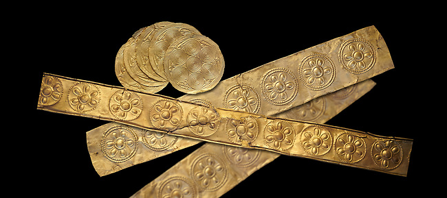 Mycenaean Gold decrated bands and circuar gold foilsd from Grave IV, Grave Circle A, Myenae, Greece. National Archaeological Museum Athens. 16th Cent BC. Black Background