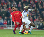 Emre Can of Liverpool tackles Didier Ndong of Sunderland during the Premier League match at the Anfield Stadium, Liverpool. Picture date: November 26th, 2016. Pic Simon Bellis/Sportimage