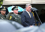 Shawn Mahan sings at the annual Law Enforcement Officers Memorial Ceremony on the Capitol grounds in Carson City, Nev. on Thursday, May 5, 2016. The name of Carson City Sheriff's Deputy Carl Howell was added to the memorial after he was killed in the line of duty in Aug. 2015.<br />