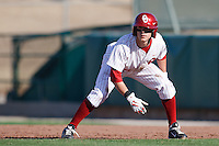 Eric Ross (6) leads off from 1st base during the NCAA matchup between the University of Arkansas-Little Rock Trojans and the University of Oklahoma Sooners at L. Dale Mitchell Park in Norman, Oklahoma; March 11th, 2011.  Oklahoma won 11-3.  Photo by William Purnell/Four Seam Images