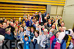 Brendan Griffin celebrates with his supporters after being elected at the Kerry General Election Count in Killarney.