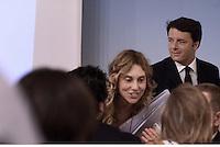 Roma, 5 Agosto 2015<br /> Palazzo Chigi.<br /> La Ministra Maria Anna Madia e  Matteo Renzi illustrano alla stampa la legge di riforma della Pubblica amministrazione