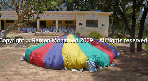 Parachute games, Nirma Government Boys School, Kotli area, Azad Kashmir, Pakistan.