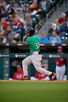 Norfolk Tides Cedric Mullins (38) at bat during an International League game against the Buffalo Bisons on June 21, 2019 at Sahlen Field in Buffalo, New York.  Buffalo defeated Norfolk 1-0, the second game of a doubleheader.  (Mike Janes/Four Seam Images)